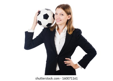 Businesswoman with ball on white