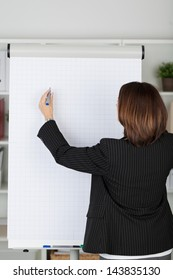 Businesswoman in a black jacket standing with her back to the camera writing on a blank flipchart with a marker pen during a presentation