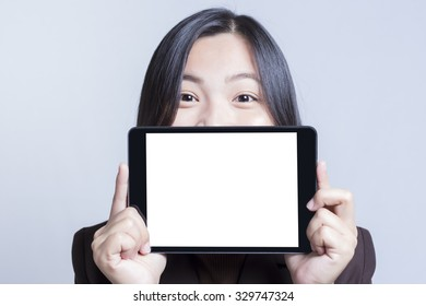 Businesswoman with Blank Tablet for Advertising