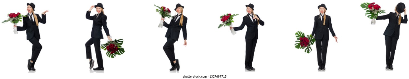 Businesswoman with bunch of flowers isolated on white