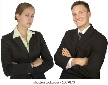 A businesswoman and a businessman together isolated on a white background.