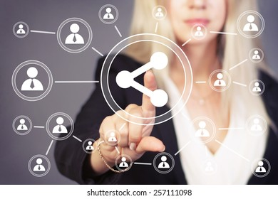 Businesswoman button share web communication icon
