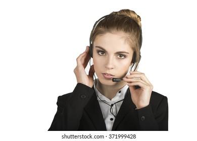 Businesswoman in Call Center. Beautiful Customer Service Representative.