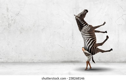 Businesswoman carrying big zebra on her back