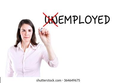 Businesswoman change unemployed to employed. Isolated on white.