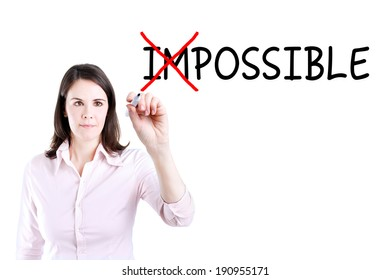 Businesswoman choosing Possible instead of Impossible.