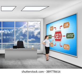 businesswoman in classroom pointing on  plasma panel with seo concept