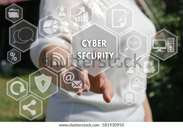 The businesswoman clicks button CYBER SECURITY on the touch screen.