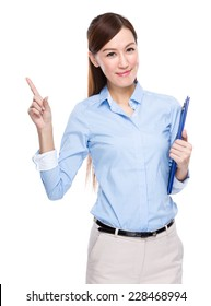 Businesswoman with clipboard and finger up