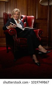Businesswoman in a comfy leather chair