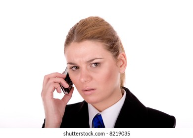 Businesswoman communication by mobile phone.