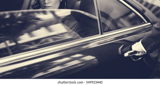 Businesswoman Corporate Taxi Transport Service