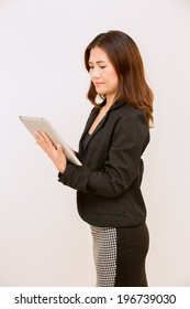 Businesswoman with Digital Tablet in  white background