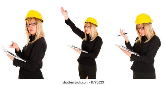 A businesswoman with documents and pencil, photo series