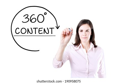 Businesswoman drawing a 360 degrees Content concept on the virtual screen.