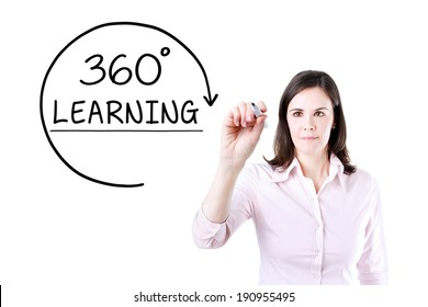 Businesswoman drawing a 360 degrees Learning concept on the virtual screen.