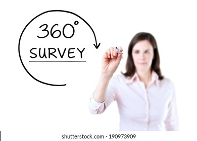 Businesswoman drawing a 360 degrees Survey concept on the virtual screen.