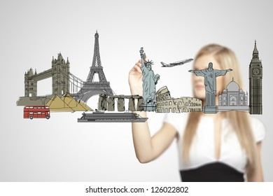 businesswoman drawing architectural buildings. isolated