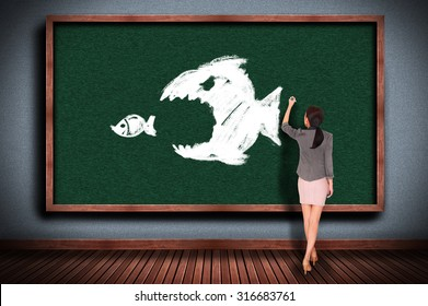 Businesswoman drawing The big fish eats the small fish on chalkboard