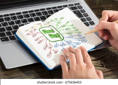 A Businesswoman Drawing Mind Map Concept With Pencil On Notebook Over The Laptop