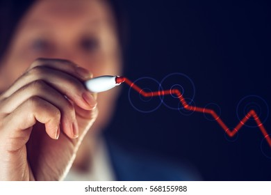 Businesswoman drawing rising graph for successful positive business results and corporate profit growth