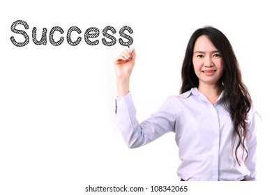 businesswoman drawing word success by marker pen on copy space white seamless background