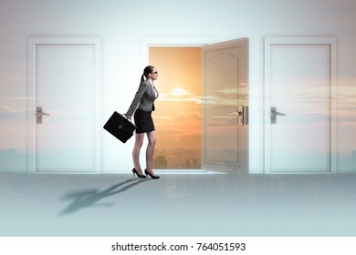 Businesswoman facing many business opportunities