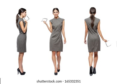 Businesswoman front, back, side view, isolated