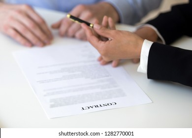 Businesswoman giving pen to man, applicant, offer to sign employment contract, manager convincing client agree with terms and conditions, put signature on legal document, close up hands view