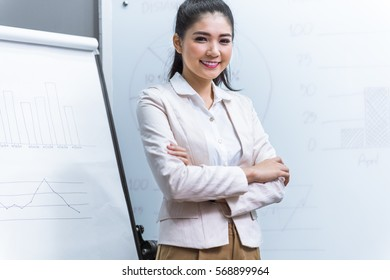 businesswoman giving a presentation in a company