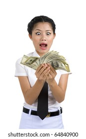 businesswoman going crazy because she got a lot of money in her hands, isolated on white background