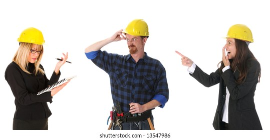businesswoman guffaw, construction worker and businesswoman with architectural plans