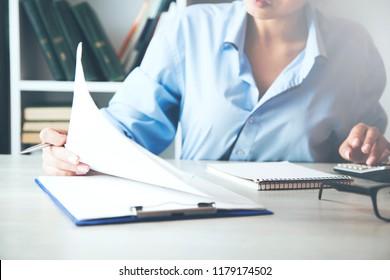 businesswoman hand contract document