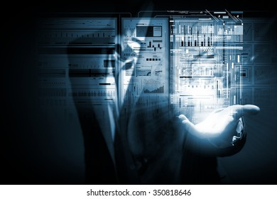 Businesswoman hand presenting virtual panel with infographs