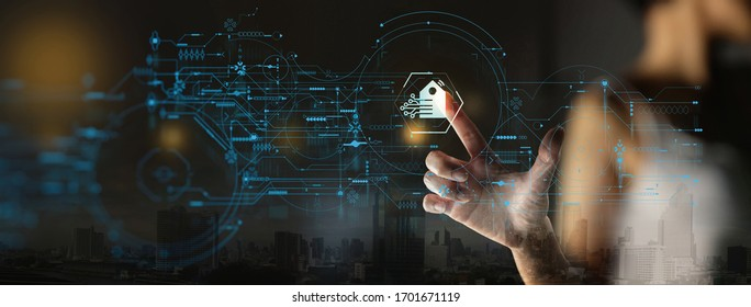 Businesswoman Hand pushing Smart home Automation Control System Ui with Innovation technology internet Network,Working remotely from home concept.