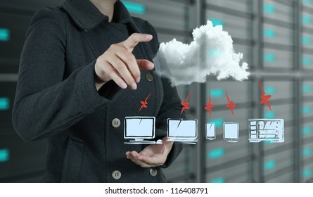 businesswoman hand touch a cloud network concept