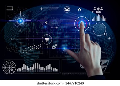 Businesswoman hand touching icon of media screen. Innovation and creativity concept. Double exposure.