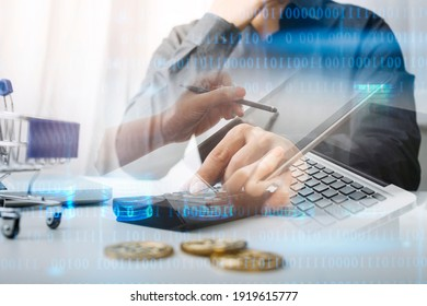 businesswoman hand using smart phone, tablet payments and holding credit card online shopping, omni channel, digital tablet docking keyboard computer at office in sun light