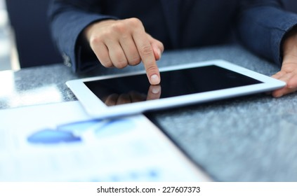 Businesswoman hands with touchpad
