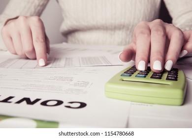 businesswoman hands, working in office room