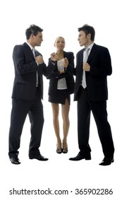 Businesswoman is happy with the conflict of her male rivals.