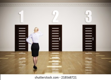 businesswoman has to choose between 3 options