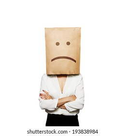businesswoman have a bad mood. isolated on white background