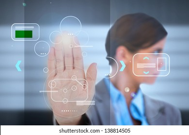 Businesswoman having a palm print identification for a security entrance