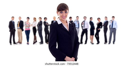 businesswoman with her team behind isolated over a white background