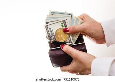 Businesswoman holding bitcoin isolated on a white background golden bitcoin coins in women s hands