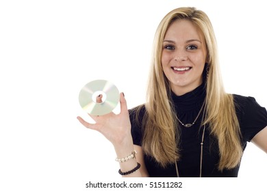 Businesswoman holding CD DVD isolated on white, a lot of copyspace.