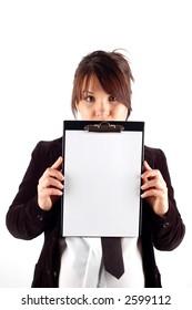 businesswoman holding clipboard #6