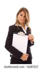 businesswoman holding a clipboard with space for text