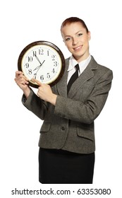 Businesswoman holding clock in hands